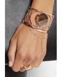 Monica Vinader Gray Hero Hammered Rose Goldplated Quartz Cuff