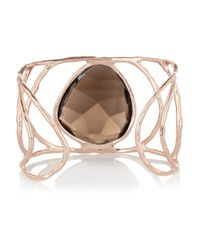 Monica Vinader - Gray Hero Hammered Rose Goldplated Quartz Cuff - Lyst