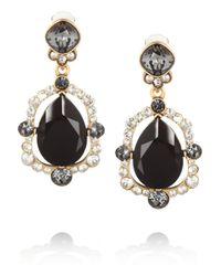 Oscar de la Renta Black Goldplated Crystal Clip Earrings