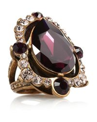 Oscar de la Renta | Purple Goldplated Crystal Ring | Lyst