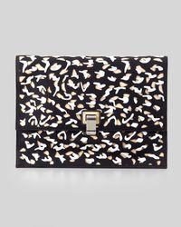 Proenza Schouler Large Cutout Neoprene Lunch Bag Clutch Black