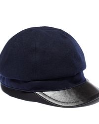 Vince Camuto | Blue Wool Cap W Faux Leather Brim | Lyst