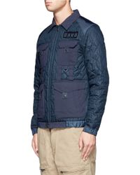 White Mountaineering Blue Twill Quilted Jacket for men