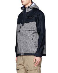 White Mountaineering Blue Textured Utility Jacket for men