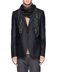 Alexander McQueen - Green Skull And Leopard Print Scarf for Men - Lyst