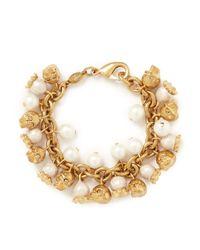 Alexander McQueen | Metallic Faux Pearl Skull Bracelet | Lyst