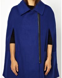 ASOS Blue Biker Cape Coat