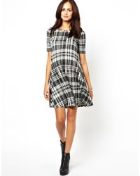 ASOS - Gray Check Jacquard Swing Dress - Lyst