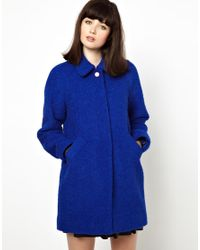 Boutique by Jaeger Blue Wool and Alpaca Boucle Mix Coat