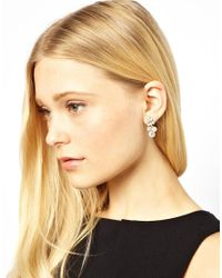 ASOS - Metallic Designsix Marsh Rhinestone Earrings - Lyst
