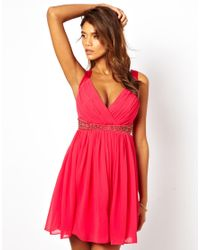 Lipsy - Pink Lipsy Deep V Prom Dress with Jewel Detail - Lyst