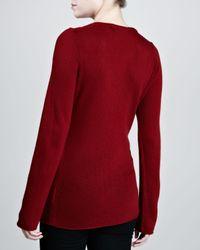 Michael Kors - Red Biasknit Cashmere Sweater Cinnabar - Lyst
