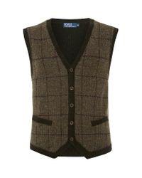 Polo Ralph Lauren Green Glen Plaid Wool Vest for men