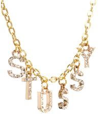 Stussy - Metallic Bling Initial Necklace - Lyst