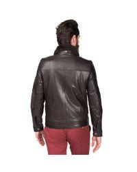 Tommy Hilfiger Brown Cole Leather Pilot Jacket for men
