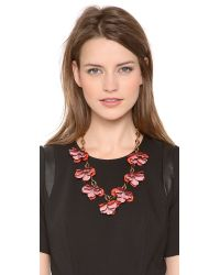 Tory Burch Pink Pentier Multi Flower Necklace