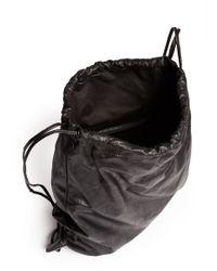 Alexander Wang Black 'wallie' Lamb Leather Gym Sack Backpack for men