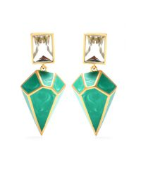 Isharya - Green Pyramid Luxe 24kt Goldplated Malachite Earrings - Lyst