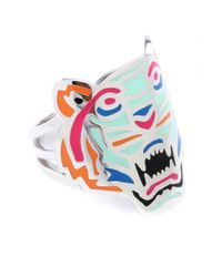 KENZO - Metallic Silvertoned Tiger Ring - Lyst
