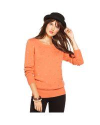 Maison Jules - Orange Maison Jules Sweater Longsleeve Scoopneck Rhinestone - Lyst