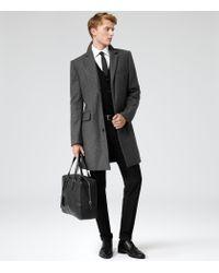 Reiss Gray Chaplin Long Epsom Coat for men