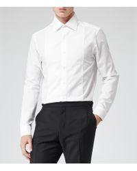 Reiss White Dumont Bib Panel Dobby Shirt for men