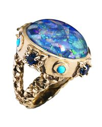 Stephen Dweck Blue Opal and Bronze Ring