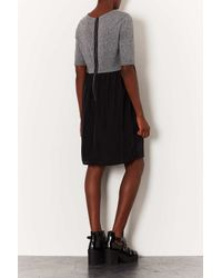 TOPSHOP - Gray Tall Woven 2 in 1 Smock Dress - Lyst