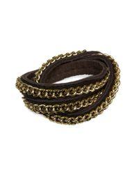 Ziba Brown Link Chain Leather Wrap Bracelet