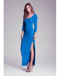 Bebe Blue 3/4 Sleeve Side Slit Maxi Dress