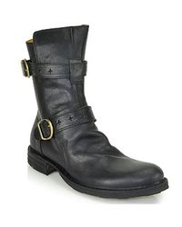 Fiorentini + Baker - Black Buckled Leather Mid-Calf Boots - Lyst