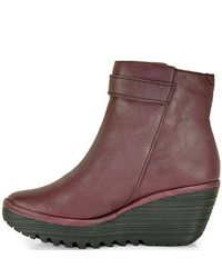Fly London | Purple Yava Leather Wedge Bootie | Lyst