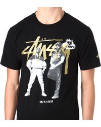 Stussy Black Mtv Erik B and Rakim T-shirt for men