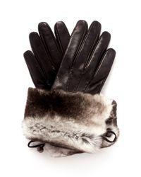 Georges Morand Black Fur Cuff Leather Gloves