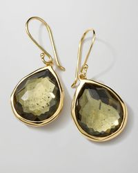 Ippolita | Green 18k Gold Rock Candy Teardrop Earrings In Citrine/pyrite | Lyst