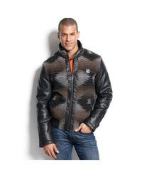Sean John - Black Aztec Pattern Zip Front Jacket for Men - Lyst