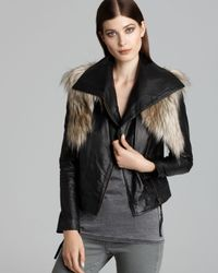 Twelfth Street Cynthia Vincent Black Jacket Faux Leather and Faux Fur Moto
