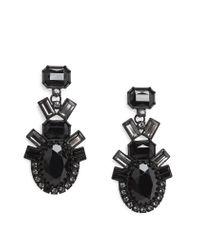 Mango - Black Faceted Crystal Drop Earrings - Lyst
