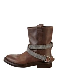 Brunello Cucinelli - Low Westernstyle Strapped Boot Brown - Lyst