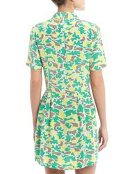 Equipment - Green Naomi Shortsleeve Pleated Skirt Silk Dress Lime Punch - Lyst