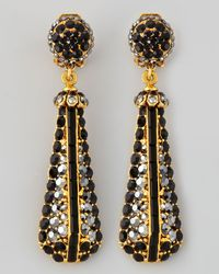 Jose & Maria Barrera | Black Pave Crystal Goldplate Drop Earrings | Lyst
