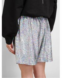 Ashish Blue Holographic Sequin Shorts