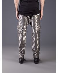 Cesar Arellanes Gray Drop Crotch Trouser for men