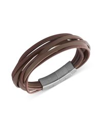 Fossil | Stainless Steel Brown Leather Multistrand Wrap Bracelet for Men | Lyst
