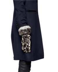 Georges Morand Multicolor Lace-print Fur Cuff Gloves