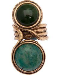Oscar de la Renta   Green Two Stone Ring   Lyst