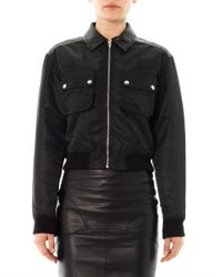 T By Alexander Wang | Black Leather Panel Jacket for Men | Lyst