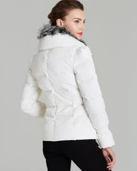 Andrew Marc | White Down Coat Luxe Stretch Satin | Lyst