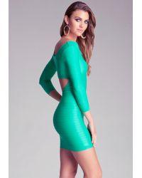 Bebe Green 34 Sleeve Back Cutout Shine Dress