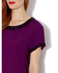 Biba Purple Short Sleeve Embellished Top